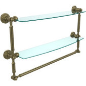 Waverly Place Collection 24'' Double Shelf with Towel Bar, Premium Finish, Antique Brass