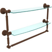 Waverly Place Collection 24'' Double Shelf with Towel Bar, Premium Finish, Rustic Bronze