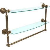 Waverly Place Collection 24'' Double Shelf with Towel Bar, Premium Finish, Brushed Bronze
