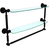 Waverly Place Collection 24 Inch Two Tiered Glass Shelf with Integrated Towel Bar, Matte Black