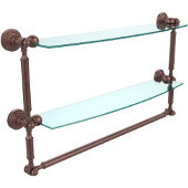 Waverly Place Collection 24'' Double Shelf with Towel Bar, Premium Finish, Antique Copper