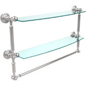 Waverly Place Collection 24'' Double Shelf with Towel Bar, Standard Finish, Polished Chrome