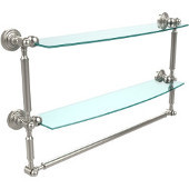 Waverly Place Collection 24'' Double Shelf with Towel Bar, Premium Finish, Polished Nickel