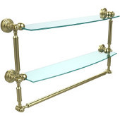 Waverly Place Collection 24'' Double Shelf with Towel Bar, Premium Finish, Satin Brass