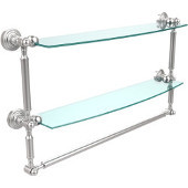 Waverly Place Collection 24'' Double Shelf with Towel Bar, Premium Finish, Satin Chrome