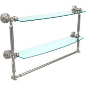 Waverly Place Collection 24'' Double Shelf with Towel Bar, Premium Finish, Satin Nickel