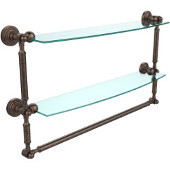 Waverly Place Collection 24'' Double Shelf with Towel Bar, Premium Finish, Venetian Bronze