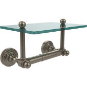 Waverly Place Collection Two Post Toilet Tissue Holder with Glass Shelf, Antique Pewter