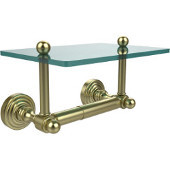 Waverly Place Collection Two Post Toilet Tissue Holder with Glass Shelf, Satin Brass