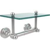 Waverly Place Collection Two Post Toilet Tissue Holder with Glass Shelf, Satin Chrome