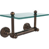 Waverly Place Collection Two Post Toilet Tissue Holder with Glass Shelf, Venetian Bronze