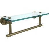Washington Square Collection 16'' Glass Shelf w/Towel Bar, Premium Finish, Antique Brass