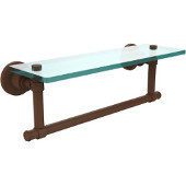 Washington Square Collection 16'' Glass Shelf w/Towel Bar, Premium Finish, Rustic Bronze
