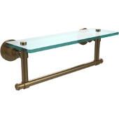 Washington Square Collection 16'' Glass Shelf w/Towel Bar, Premium Finish, Brushed Bronze