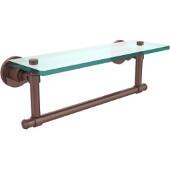 Washington Square Collection 16'' Glass Shelf w/Towel Bar, Premium Finish, Antique Copper