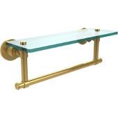 Washington Square Collection 16'' Glass Shelf w/Towel Bar, Standard Finish, Polished Brass