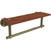 Washington Square Collection 16 Inch Solid IPE Ironwood Shelf with Integrated Towel Bar, Antique Brass
