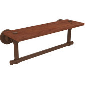 Washington Square Collection 16 Inch Solid IPE Ironwood Shelf with Integrated Towel Bar, Antique Bronze