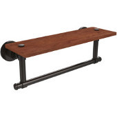 Washington Square Collection 16 Inch Solid IPE Ironwood Shelf with Integrated Towel Bar, Oil Rubbed Bronze