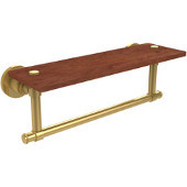 Washington Square Collection 16 Inch Solid IPE Ironwood Shelf with Integrated Towel Bar, Polished Brass