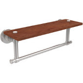Washington Square Collection 16 Inch Solid IPE Ironwood Shelf with Integrated Towel Bar, Polished Chrome