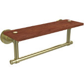 Washington Square Collection 16 Inch Solid IPE Ironwood Shelf with Integrated Towel Bar, Satin Brass