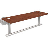 Washington Square Collection 16 Inch Solid IPE Ironwood Shelf with Integrated Towel Bar, Satin Chrome