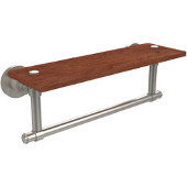 Washington Square Collection 16 Inch Solid IPE Ironwood Shelf with Integrated Towel Bar, Satin Nickel