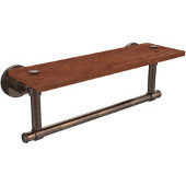 Washington Square Collection 16 Inch Solid IPE Ironwood Shelf with Integrated Towel Bar, Venetian Bronze