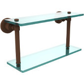 Washington Square Collection 16'' Double Glass Shelf, Premium Finish, Rustic Bronze
