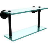 Washington Square Collection 16 Inch Two Tiered Glass Shelf, Matte Black