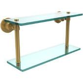 Washington Square Collection 16'' Double Glass Shelf, Standard Finish, Polished Brass