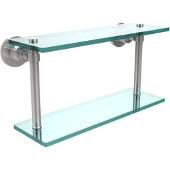 Washington Square Collection 16'' Double Glass Shelf, Standard Finish, Polished Chrome