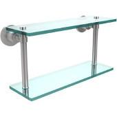Washington Square Collection 16'' Double Glass Shelf, Premium Finish, Satin Chrome