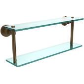 Washington Square Collection 22'' Double Glass Shelf, Premium Finish, Brushed Bronze