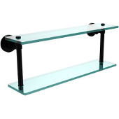 Washington Square Collection 22 Inch Two Tiered Glass Shelf, Matte Black