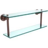 Washington Square Collection 22'' Double Glass Shelf, Premium Finish, Antique Copper
