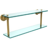 Washington Square Collection 22 Inch Two Tiered Glass Shelf, Unlacquered Brass