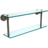 Washington Square Collection 22'' Double Glass Shelf, Premium Finish, Antique Pewter