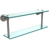 Washington Square Collection 22'' Double Glass Shelf, Premium Finish, Satin Nickel
