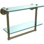 Washington Square Collection 16'' Double Glass Shelf w/Towel Bar, Premium Finish, Antique Brass