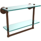 Washington Square Collection 16'' Double Glass Shelf w/Towel Bar, Premium Finish, Rustic Bronze