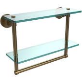 Washington Square Collection 16'' Double Glass Shelf w/Towel Bar, Premium Finish, Brushed Bronze
