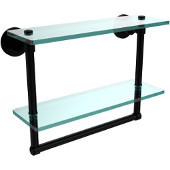 Washington Square Collection 16 Inch Two Tiered Glass Shelf with Integrated Towel Bar, Matte Black
