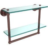 Washington Square Collection 16'' Double Glass Shelf w/Towel Bar, Premium Finish, Antique Copper