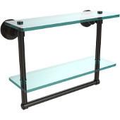 Washington Square Collection 16'' Double Glass Shelf w/Towel Bar, Premium Finish, Oil Rubbed Bronze