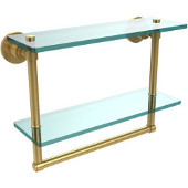 Washington Square Collection 16'' Double Glass Shelf w/Towel Bar, Standard Finish, Polished Brass