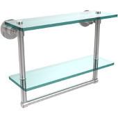 Washington Square Collection 16'' Double Glass Shelf w/Towel Bar, Standard Finish, Polished Chrome