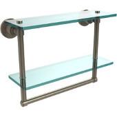 Washington Square Collection 16'' Double Glass Shelf w/Towel Bar, Premium Finish, Antique Pewter