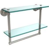 Washington Square Collection 16'' Double Glass Shelf w/Towel Bar, Premium Finish, Polished Nickel